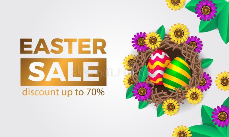 huevo 3D decorativo en la jerarquía del pájaro con el flor de la flor de la primavera para el descuento del prmotion de la venta  ilustración del vector