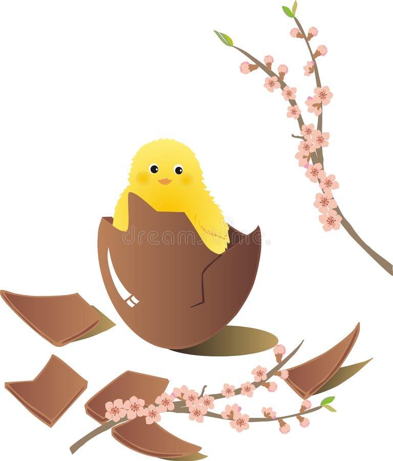 Huevo de Chocholate Pascua con el polluelo stock de ilustración