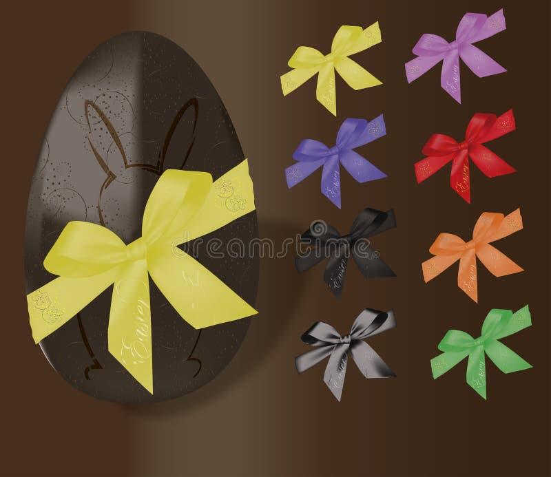 Huevo de Chocolat Pascua con los ribons y el conejito ilustración del vector