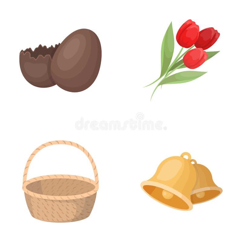 Huevo de chocolate, campanas, cesta y flores Los iconos determinados de la colección de Pascua en estilo de la historieta vector  ilustración del vector