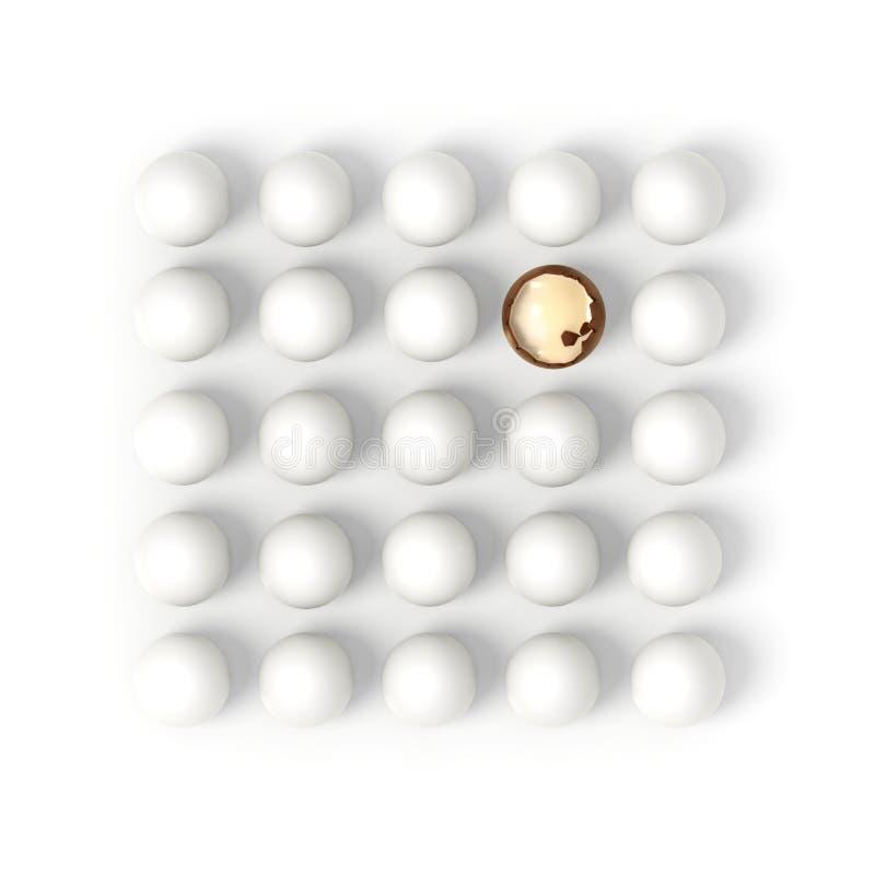 Huevo de chocolate quebrado en filas de los huevos blancos ilustración del vector