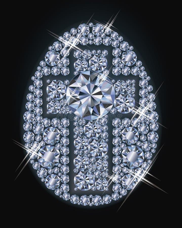 Huevo de Diamond Easter con la cruz, tarjeta de pascua feliz ilustración del vector
