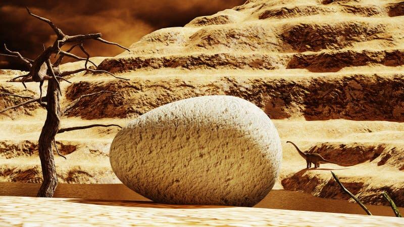 Huevo de dinosaurio enorme con el diplodocus del padre en el fondo stock de ilustración