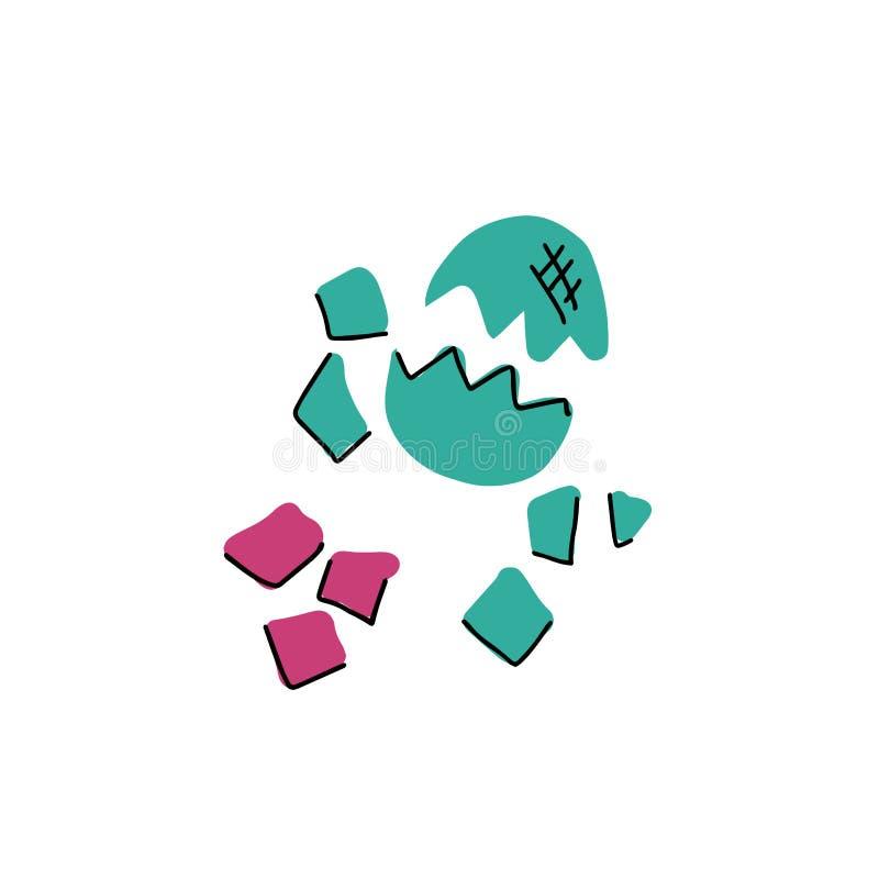 Huevo de dinosaurio tramado aislado en el ejemplo blanco del vector Línea linda y huevo quebrado plano de Dino Elementos de prehi libre illustration