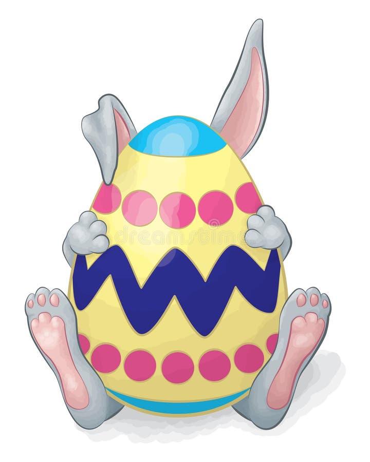 Huevo de Gray Rabbit Hiding Behind Easter libre illustration