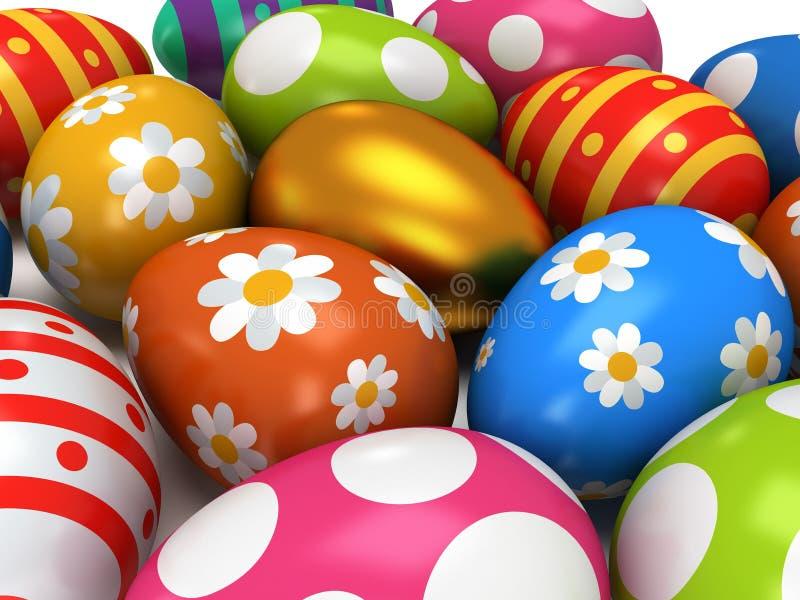 Huevo de oro único entre los huevos de Pascua ilustración del vector