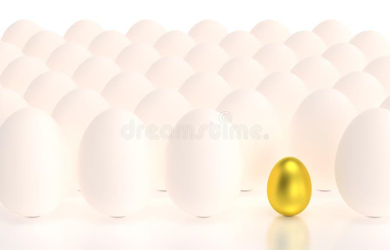 Huevo de oro en filas de huevos ilustración del vector