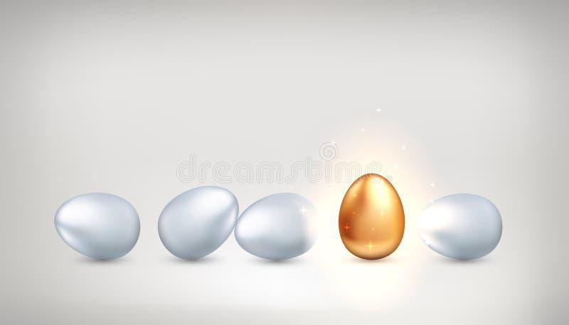 Huevo de oro excepcional entre los huevos blancos ordinarios, el concepto de exclusividad, creatividad, éxito Personalidad brilla libre illustration