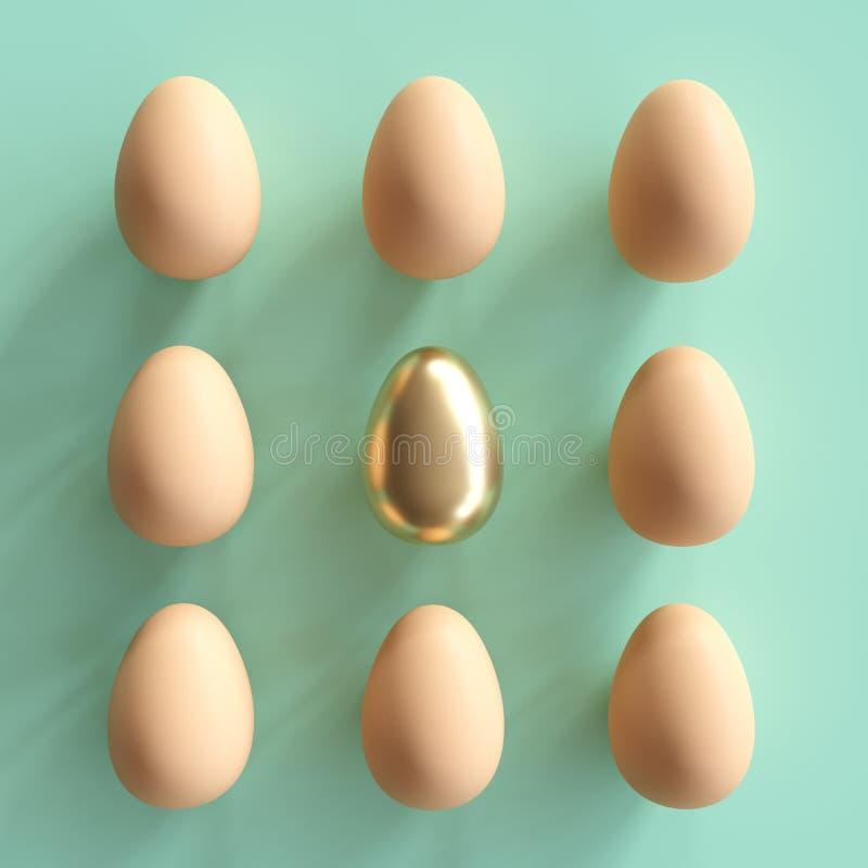 Huevo de oro excepcional entre los huevos naturales en fondo verde stock de ilustración