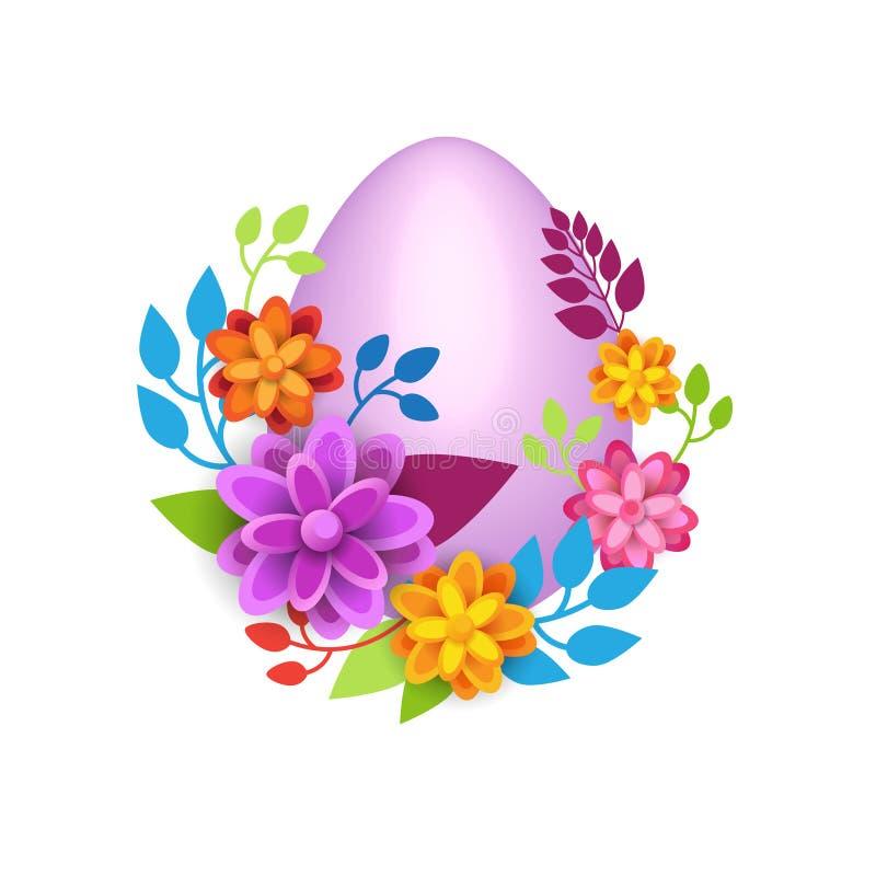 Huevo de Pascua adornado con las flores coloridas aisladas en la plantilla blanca del fondo ilustración del vector