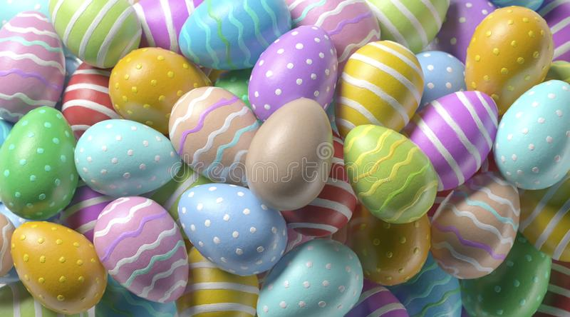 Huevo de Pascua anaranjado en blanco en mofa colorida de la pila para arriba foto de archivo