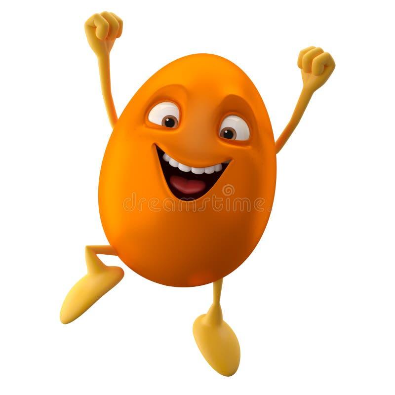 Huevo de Pascua anaranjado sonriente, personaje de dibujos animados divertido 3D ilustración del vector