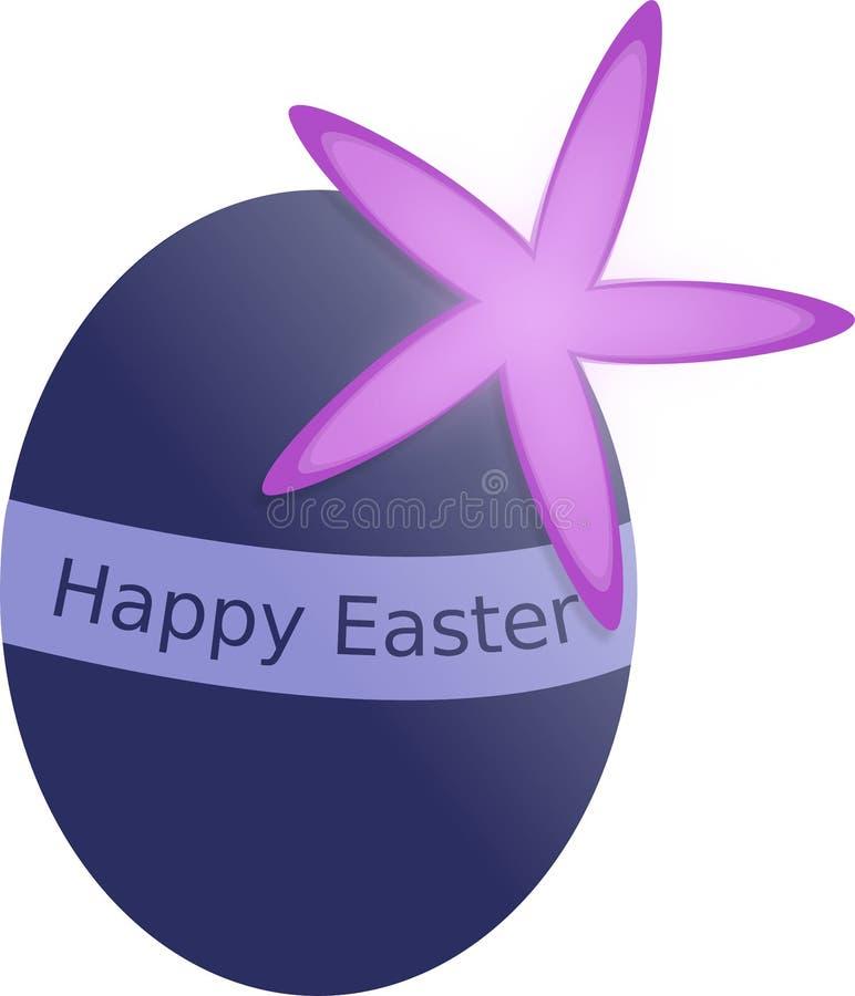 Huevo de Pascua azul con la flor y la etiqueta Pascua feliz de la primavera foto de archivo