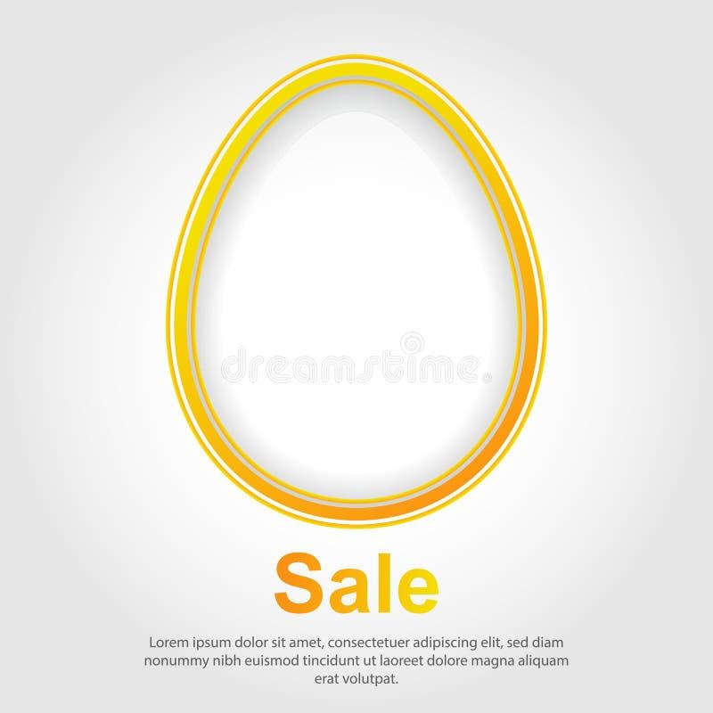 Huevo de Pascua blanco con contorno del oro en el fondo blanco Bandera de Pascua de la venta ilustración del vector