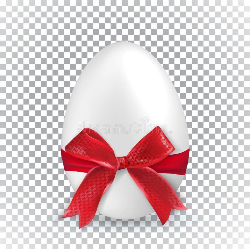 Huevo de Pascua blanco con la cinta roja en fondo transparente minimalism Bandera de la venta ilustración del vector
