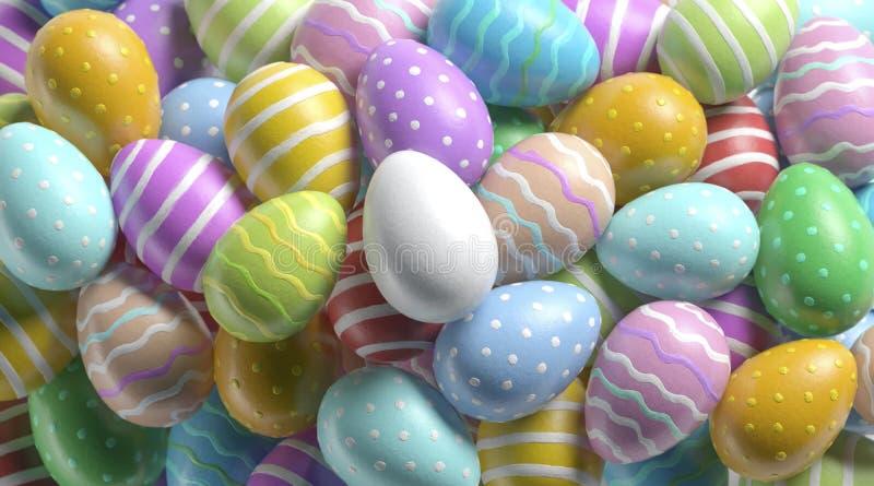 Huevo de Pascua blanco en blanco en mofa colorida de la pila para arriba imágenes de archivo libres de regalías