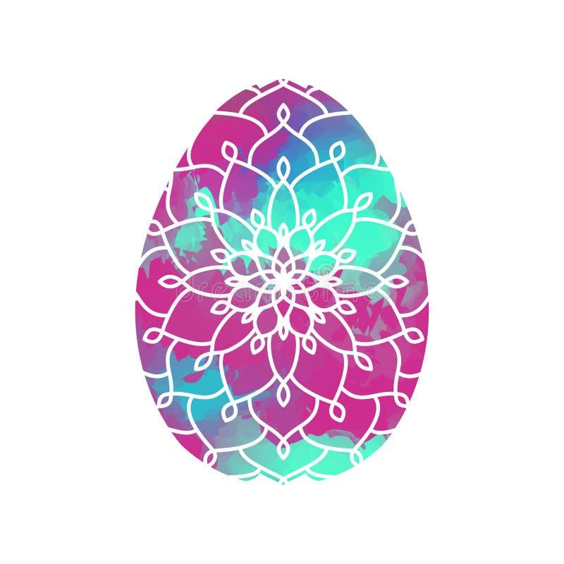 Huevo de Pascua colorido con el modelo de la mandala en la acuarela Backgroun libre illustration