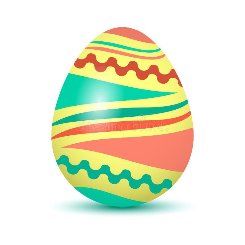 Huevo de Pascua colorido con la sombra coloreada Colores rojos, verdes y amarillos Ilustración del vector ilustración del vector