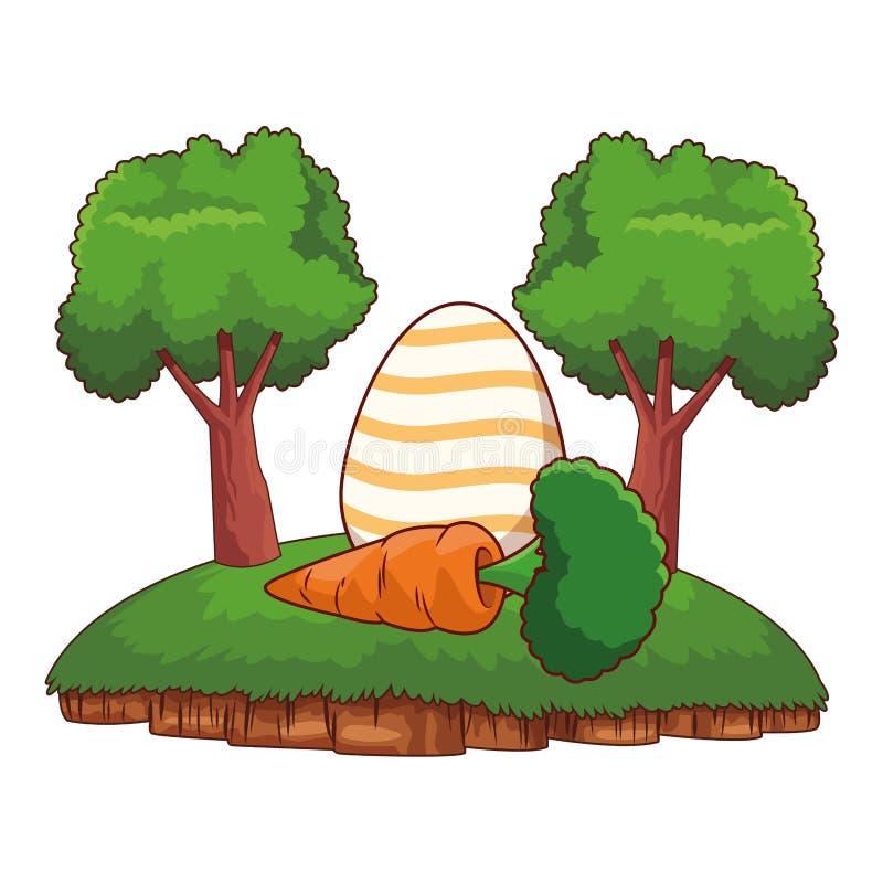 Huevo de Pascua colorido con los árboles del marco del fondo de la naturaleza de la zanahoria stock de ilustración
