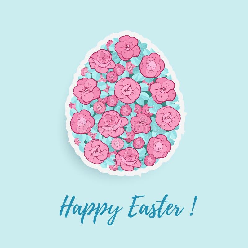 Huevo de Pascua con el ornamento floral stock de ilustración