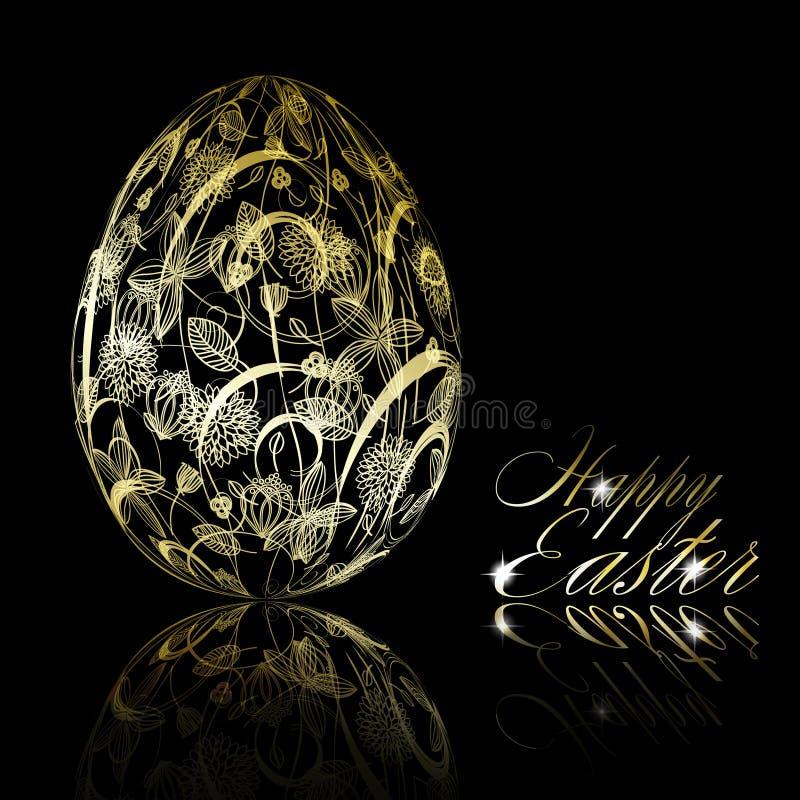 Huevo de Pascua de oro abstracto en fondo negro libre illustration