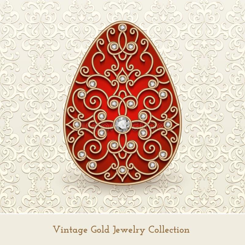 Huevo de Pascua del oro de la joyería del vintage stock de ilustración