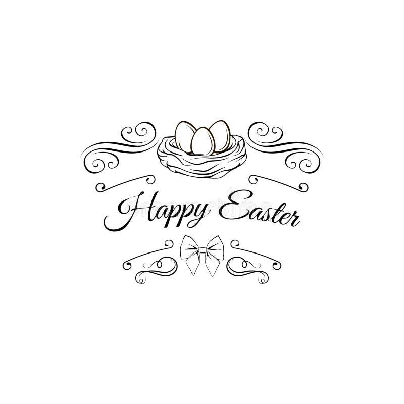 Huevo de Pascua en jerarquía del pájaro con remolinos y marcos adornados Pascua feliz Ilustración del vector ilustración del vector