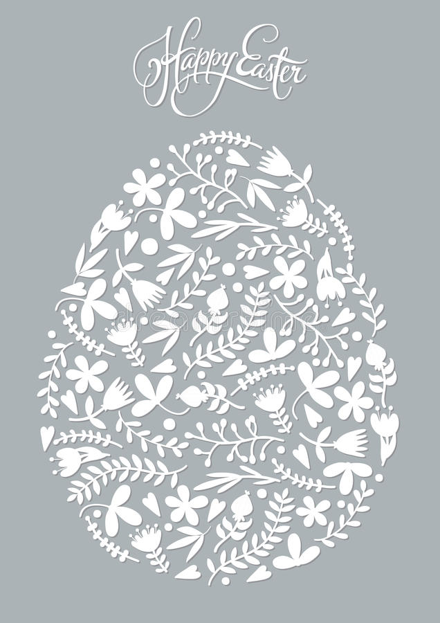 Huevo de Pascua hecho de modelo floral del día de fiesta imagenes de archivo