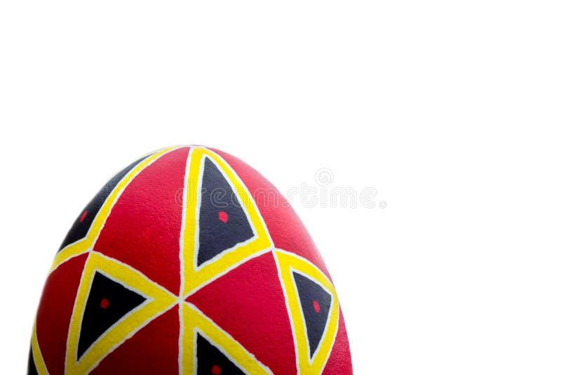 Huevo de Pascua hecho a mano étnico perfecto Adornado con los modelos Aislado en blanco fotografía de archivo