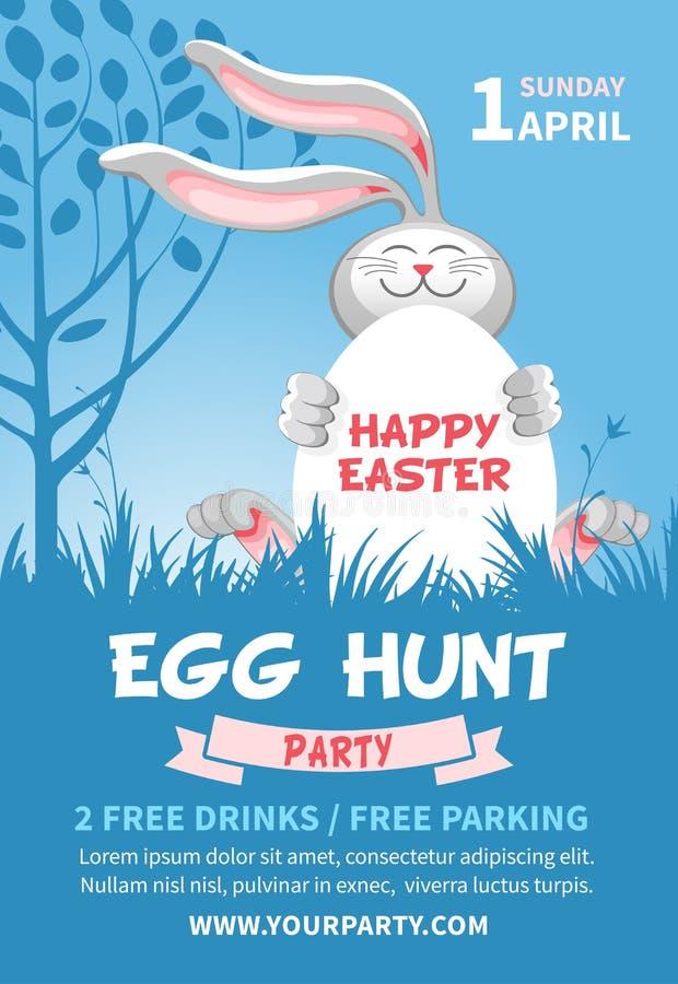 Huevo de Pascua Hunt Flyer Template ilustración del vector