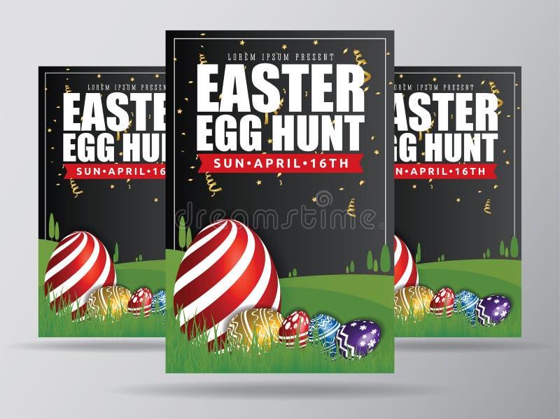 Huevo de Pascua Hunt Flyer Template Design stock de ilustración