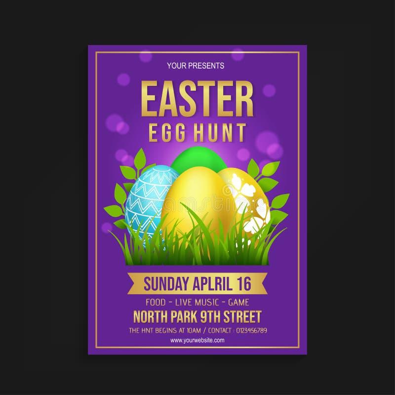 Huevo de Pascua Hunt Flyer Template stock de ilustración