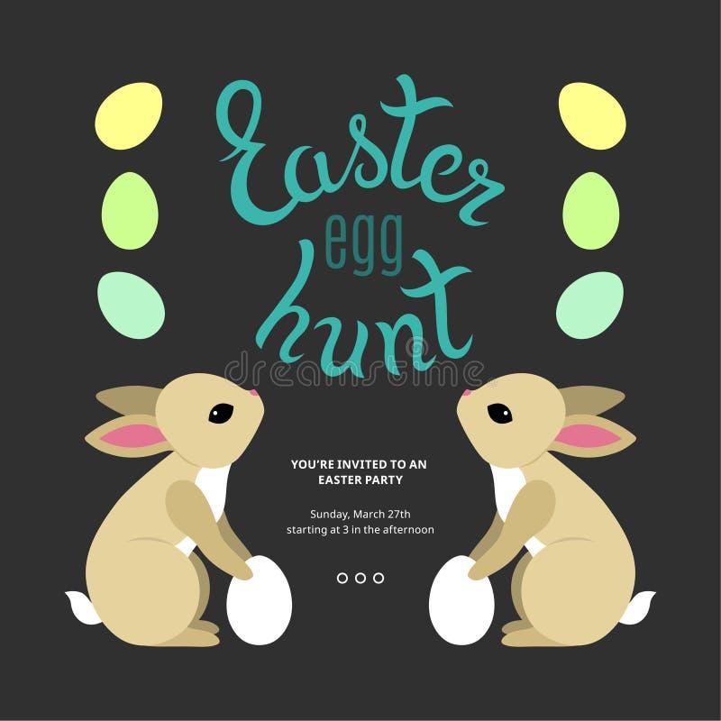 Huevo de Pascua Hunt Template Poster ilustración del vector