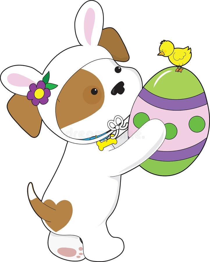 Huevo de Pascua lindo del perrito stock de ilustración