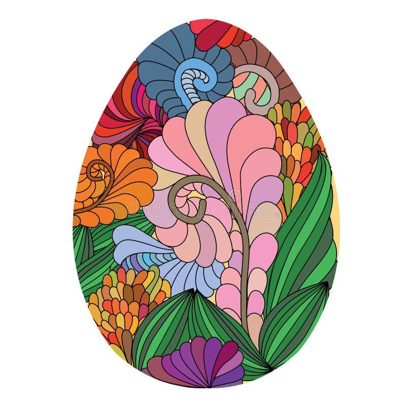 Huevo de Pascua ornamental dibujado mano coloreado con ingenio del modelo del garabato stock de ilustración