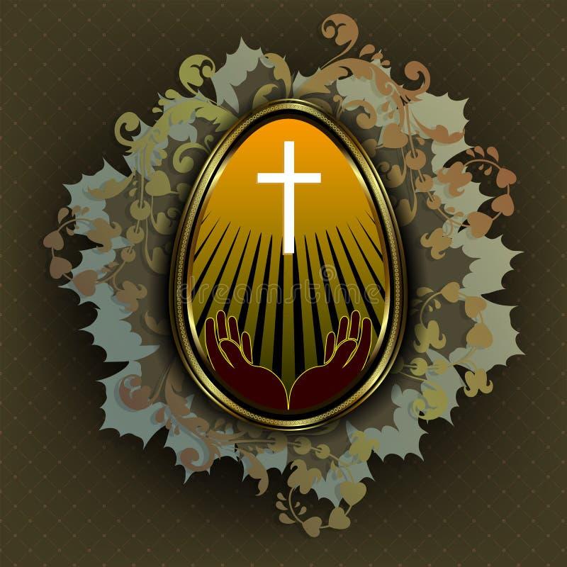 Huevo de Pascua de oro con una cruz y las manos stock de ilustración