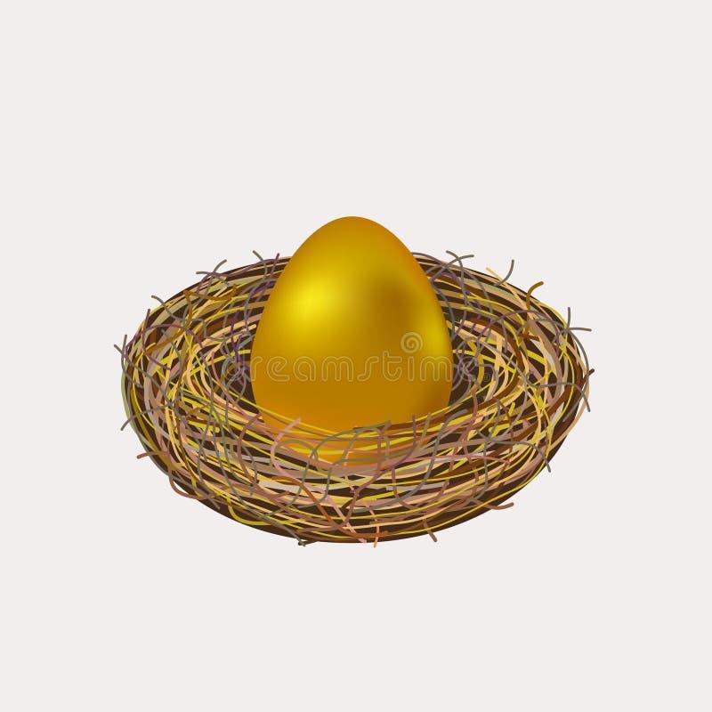 Huevo de Pascua de oro en jerarquía ilustración del vector