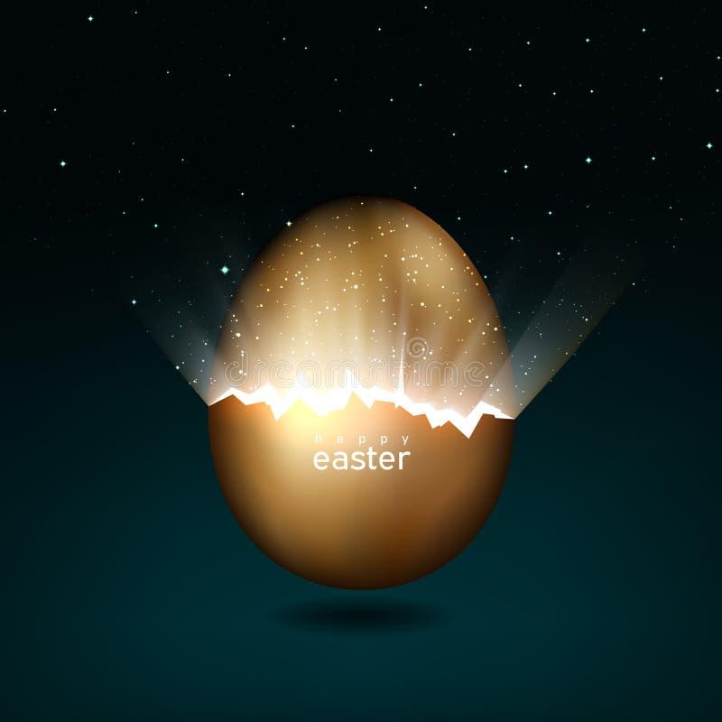 Huevo de Pascua de oro quebrado que da a luz al universo Rayos de estrellas ligeras de las grietas en el huevo de Pascua del oro  stock de ilustración
