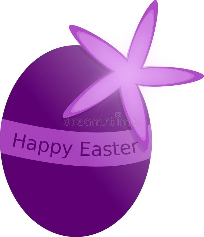 Huevo de Pascua púrpura con la flor y la etiqueta Pascua feliz de la primavera fotografía de archivo