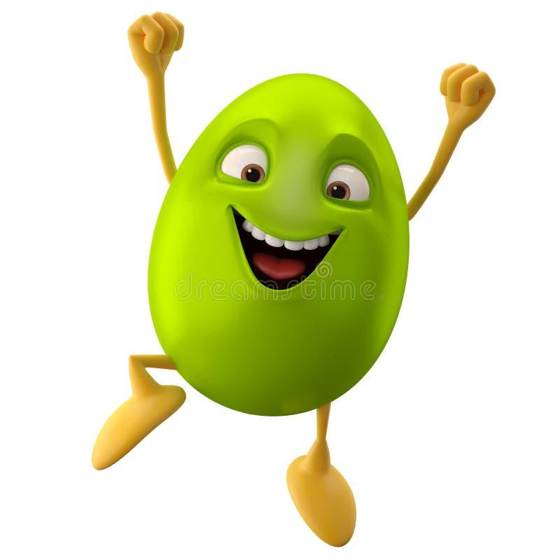 Huevo de Pascua sonriente, personaje de dibujos animados divertido 3D stock de ilustración