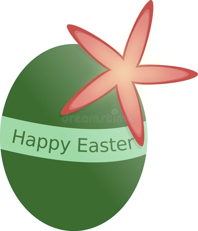 Huevo de Pascua verde con la flor y la etiqueta Pascua feliz de la primavera foto de archivo