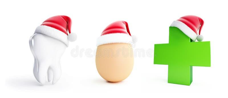Huevo, diente, sombrero médico de santa de las CRO (coordinadora) en un ejemplo blanco del fondo 3D libre illustration