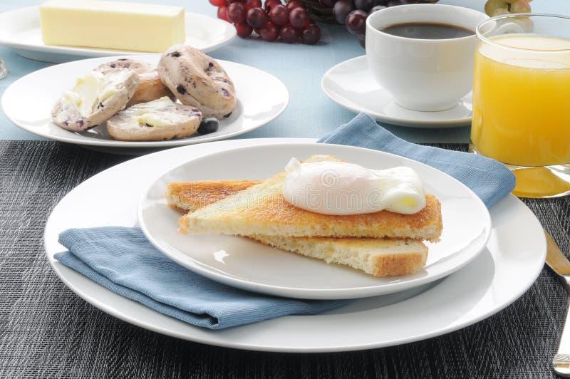 Huevo escalfado en tostada con los bagles del arándano imagenes de archivo