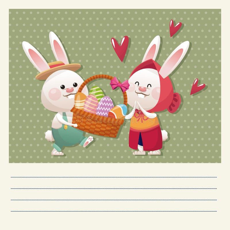 huevo feliz de la cesta del conejito de los pares de pascua de la historieta libre illustration