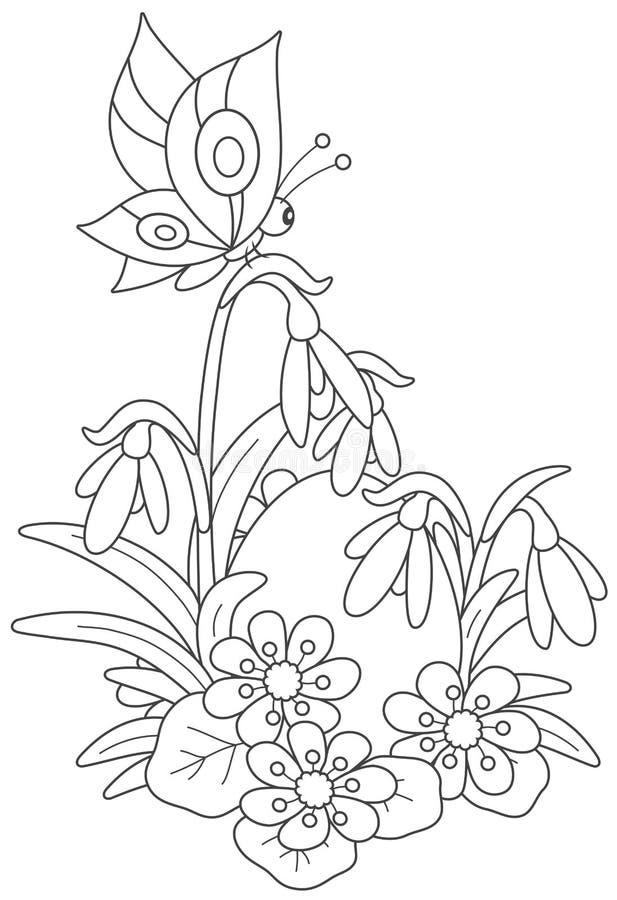 Huevo, flores y mariposa de Pascua stock de ilustración