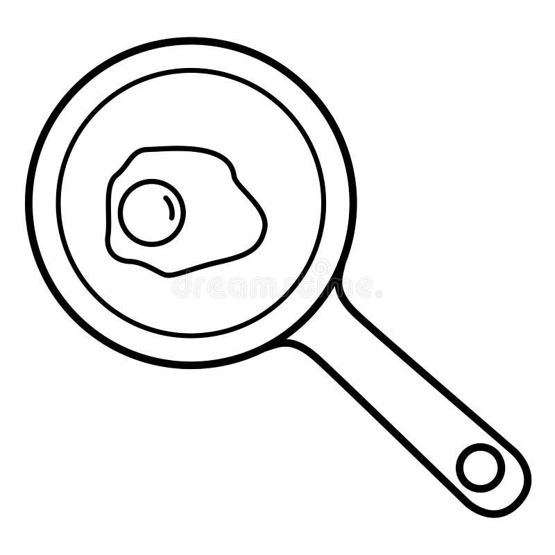 Huevo frito en la cacerola ilustración del vector