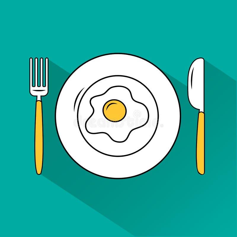 Huevo frito en la placa, bifurcación, cuchillo en fondo de la turquesa Plato y cubiertos con la sombra Ilustración del vector stock de ilustración