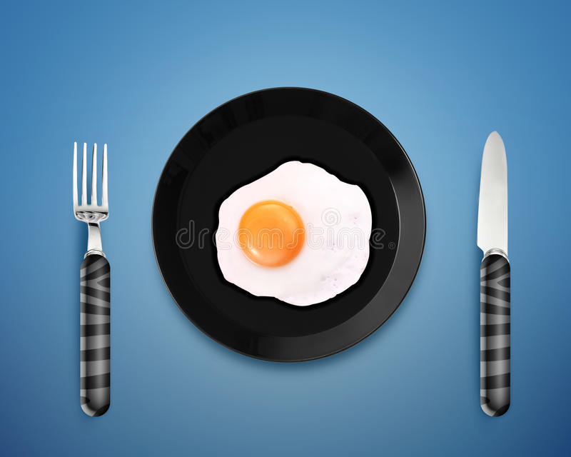 Huevo frito en una placa stock de ilustración