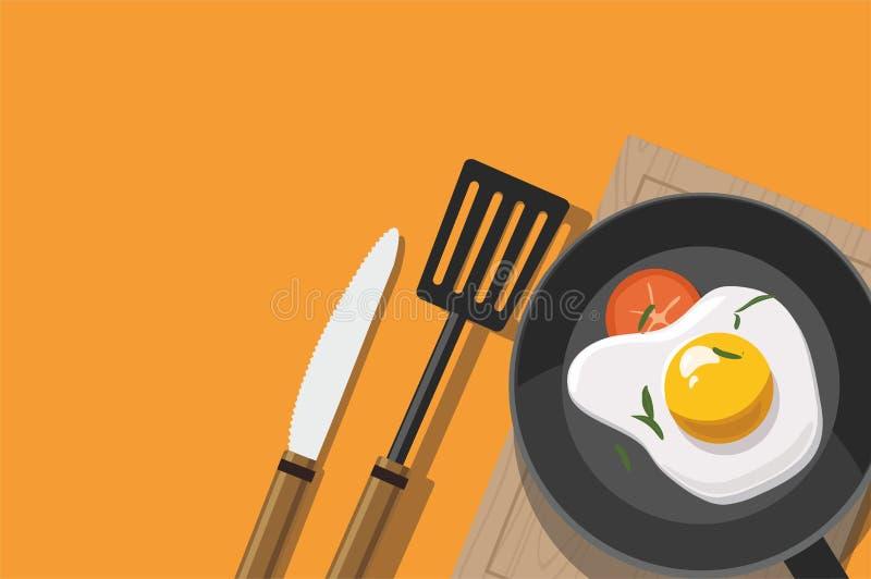 Huevo frito y tomate en el sartén aislado en fondo anaranjado ilustración del vector