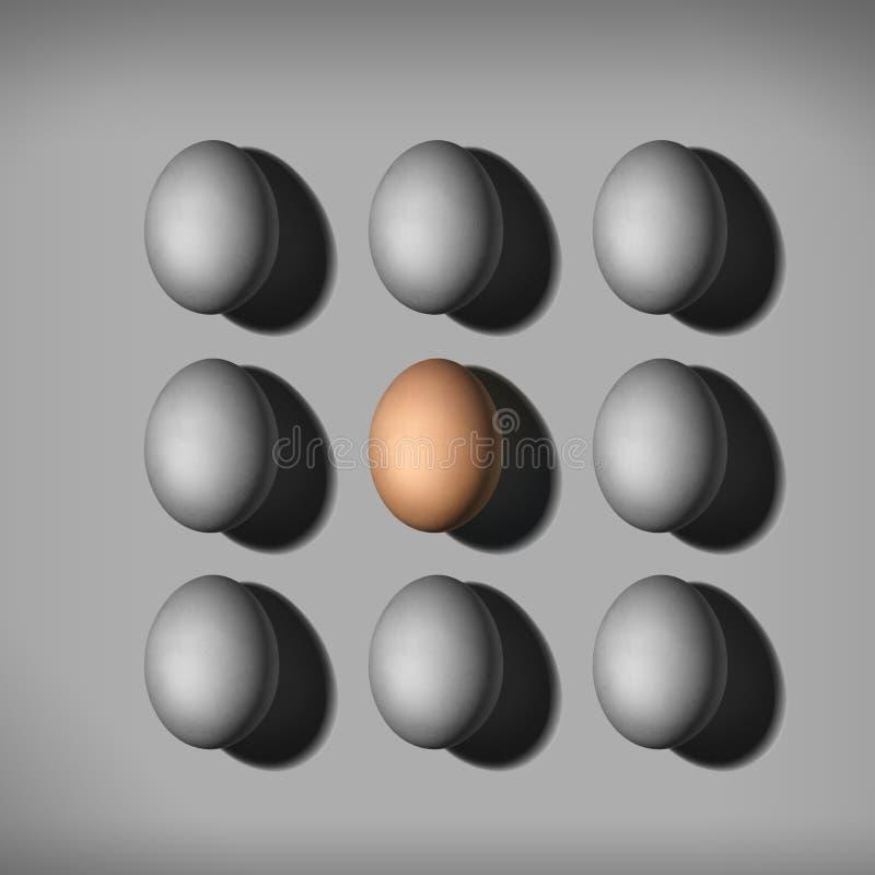 Huevo marrón coloreado entre huevos grises concepto de individualidad huevo de color diferente imagen de archivo